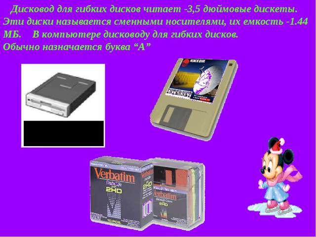 Дисковод для гибких дисков читает -3,5 дюймовые дискеты. Эти диски называетс...