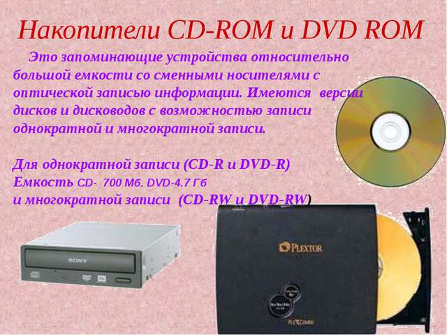 Накопители СD-ROM и DVD ROM Это запоминающие устройства относительно большой...