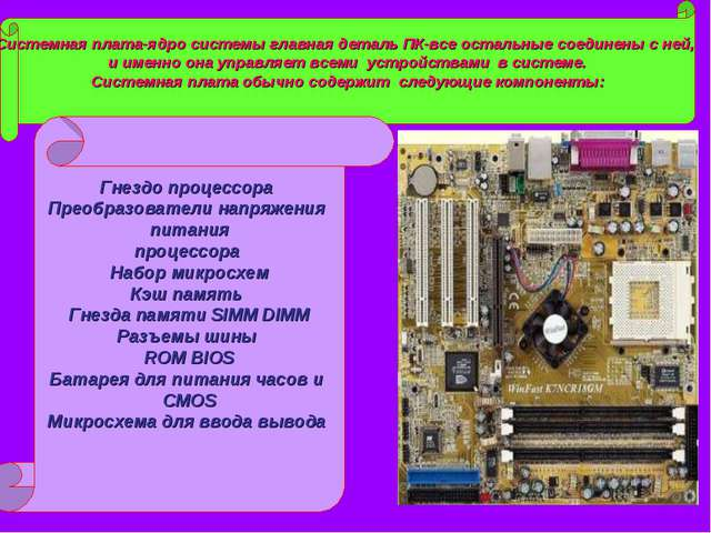 Системная плата-ядро системы главная деталь ПК-все остальные соединены с ней,...
