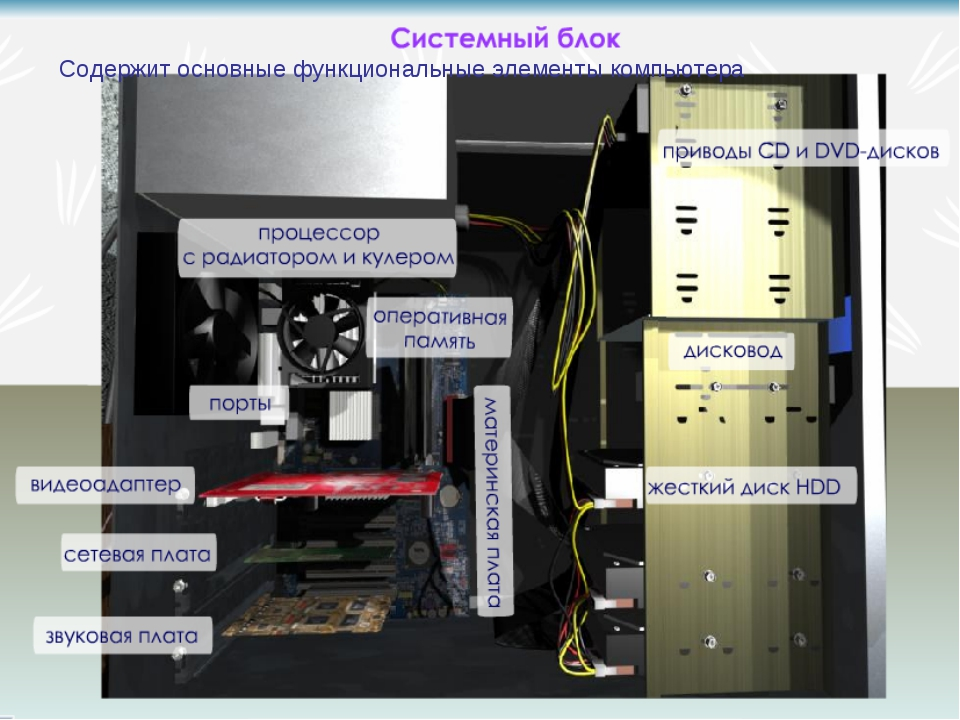 Содержит основные функциональные элементы компьютера