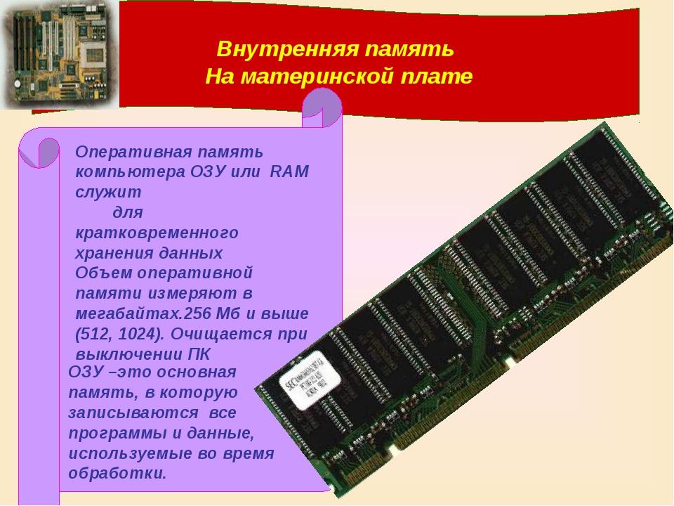 Внутренняя память На материнской плате Оперативная память компьютера ОЗУ или...