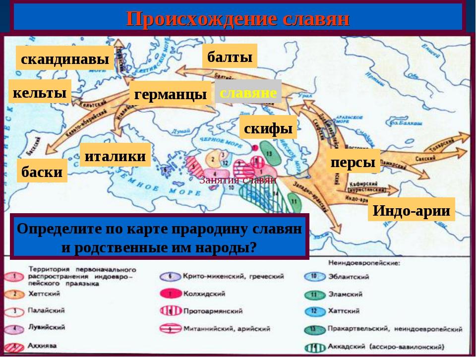 Происхождение славян Определите по карте прародину славян и родственные им на...
