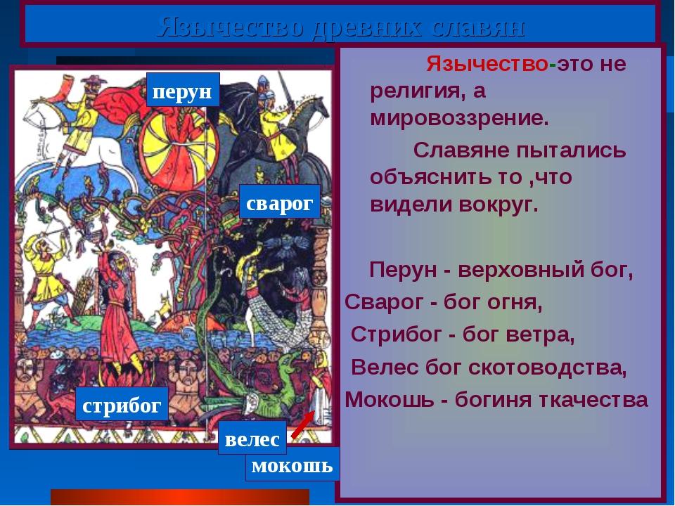 Язычество древних славян Язычество-это не религия, а мировоззрение. Славяне п...