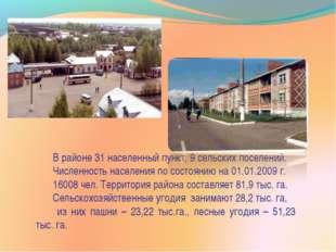 В районе 31 населенный пункт, 9 сельских поселений. Численность населения по