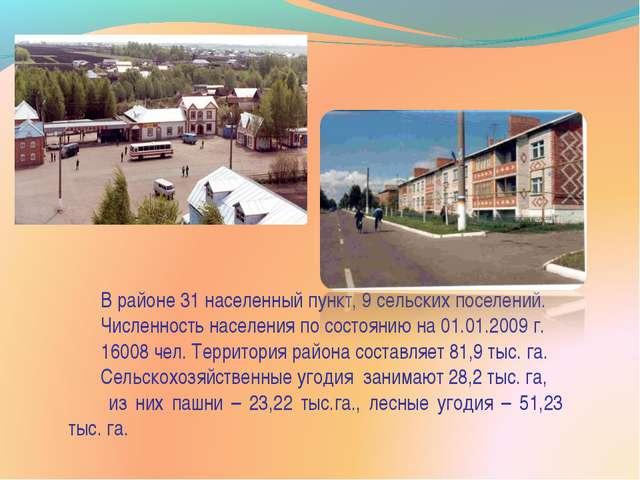 В районе 31 населенный пункт, 9 сельских поселений. Численность населения по...