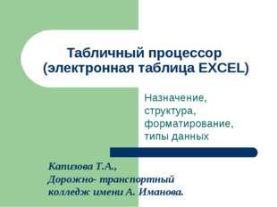 Табличный процессор (электронная таблица EXCEL) Назначение, структура, формат