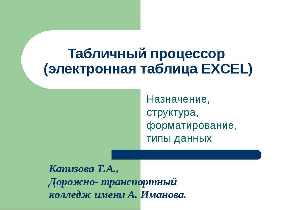 Табличный процессор (электронная таблица EXCEL) Назначение, структура, формат...