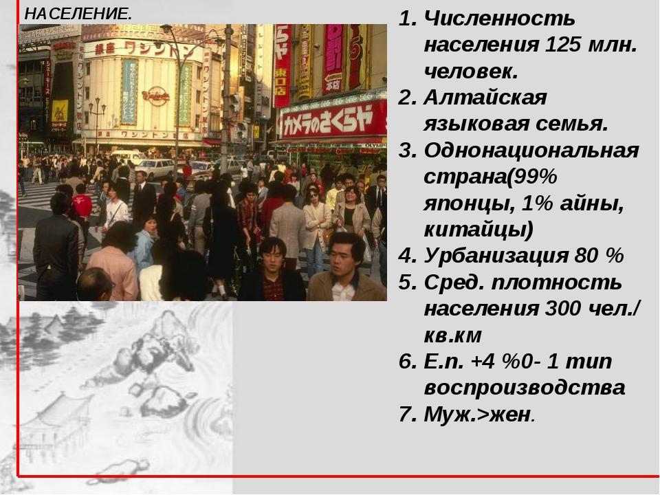 Численность населения 125 млн. человек. Алтайская языковая семья. Однонациона...