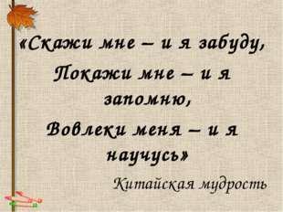 «Скажи мне – и я забуду, Покажи мне – и я запомню, Вовлеки меня – и я научусь