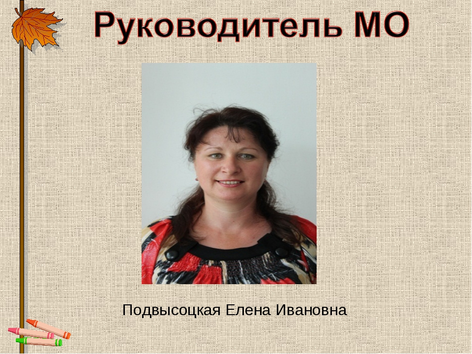 Подвысоцкая Елена Ивановна