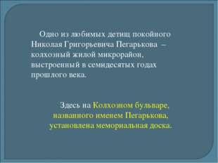 Одно из любимых детищ покойного Николая Григорьевича Пегарькова – колхозный ж