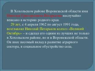 В Хохольском районе Воронежской области имя Николая Григорьевича Пегарькова н
