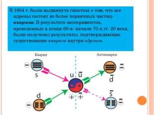 В 1964 г. была выдвинута гипотеза о том, что все адроны состоят из более перв