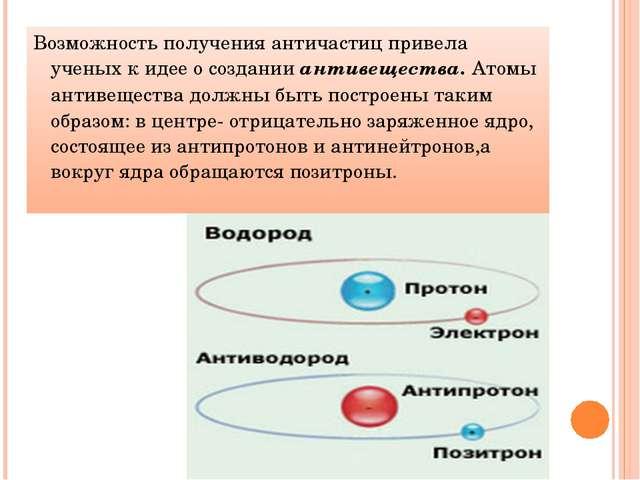 Возможность получения античастиц привела ученых к идее о создании антивеществ...