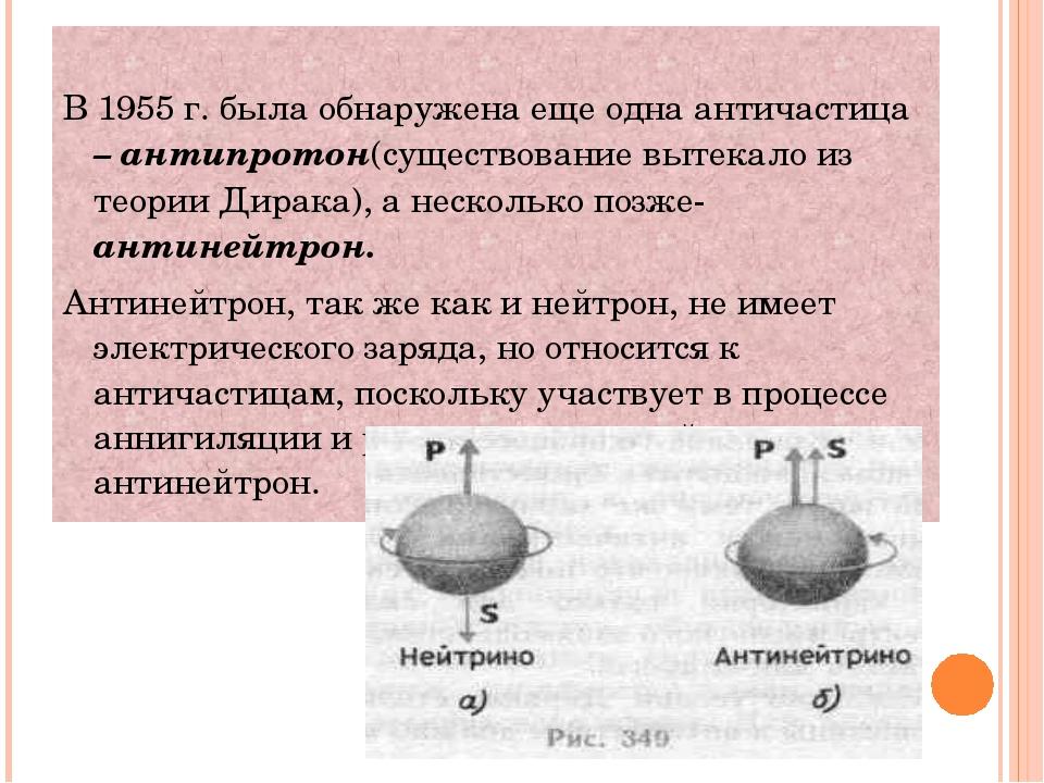 В 1955 г. была обнаружена еще одна античастица – антипротон(существование вы...