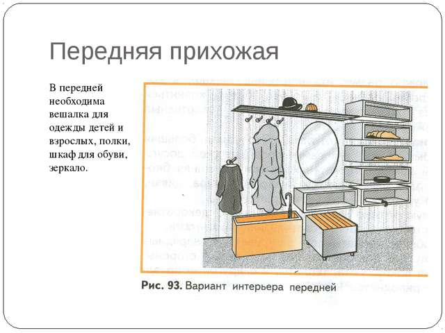 Передняя прихожая В передней необходима вешалка для одежды детей и взрослых,...