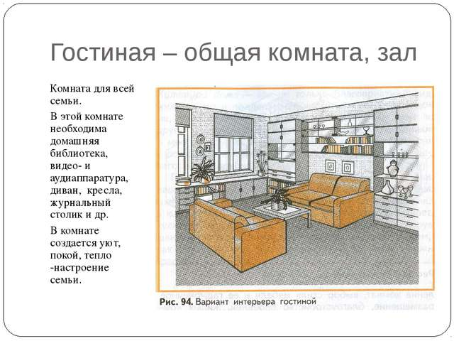 Гостиная – общая комната, зал Комната для всей семьи. В этой комнате необходи...