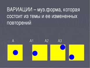 А А1 А2 А3 ВАРИАЦИИ – муз.форма, которая состоит из темы и ее измененных пов