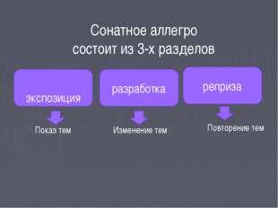 Сонатное аллегро состоит из 3-х разделов экспозиция реприза разработка Показ