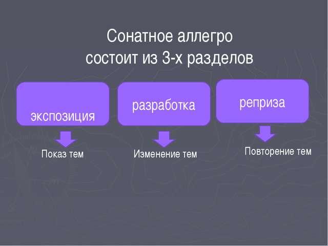 Сонатное аллегро состоит из 3-х разделов экспозиция реприза разработка Показ...