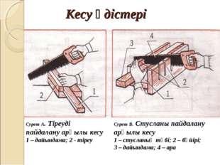 Кесу әдістері Сурет А. Тіреуді пайдалану арқылы кесу 1 – дайындама; 2 - тіре