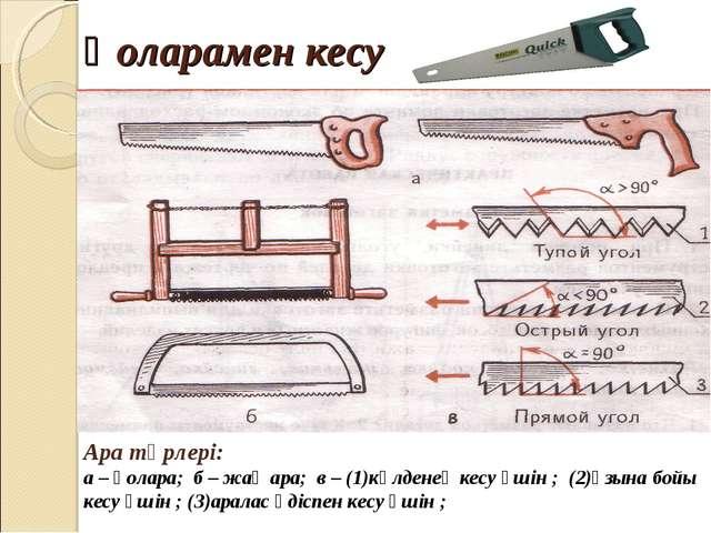 Қоларамен кесу Ара түрлері: а – қолара; б – жақ ара; в – (1)көлденең кесу үші...