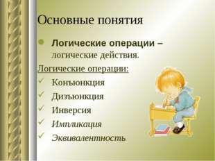 Основные понятия Логические операции – логические действия. Логические операц