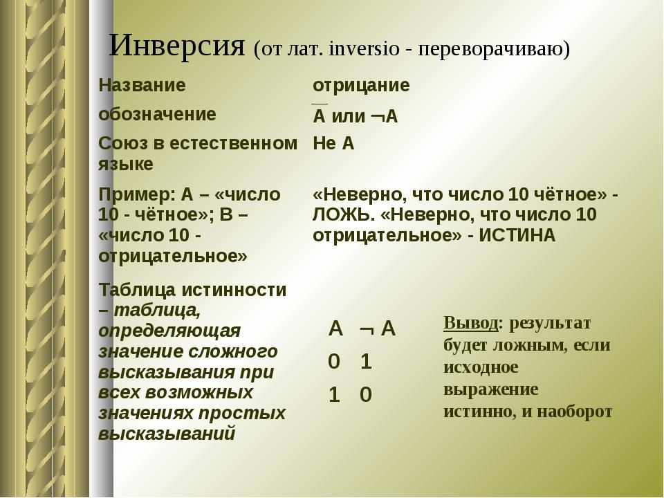 Инверсия (от лат. inversio - переворачиваю) Вывод: результат будет ложным, ес...