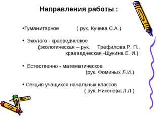 Направления работы : Гуманитарное ( рук. Кучева С.А.) Эколого - краеведческое