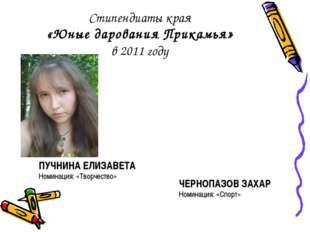Стипендиаты края «Юные дарования Прикамья» в 2011 году ЧЕРНОПАЗОВ ЗАХАР Номин