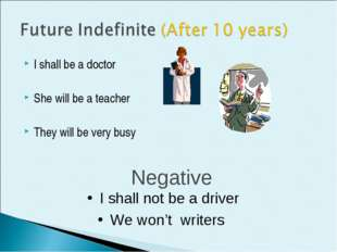 I shall be a doctor She will be a teacher They will be very busy Negative I s