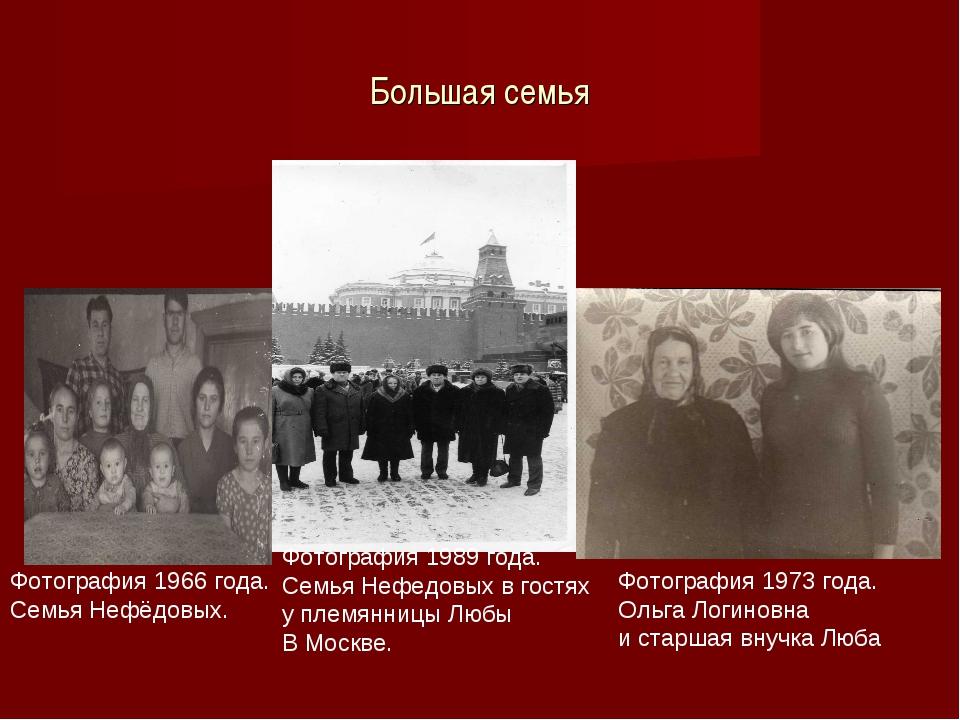 Большая семья Фотография 1966 года. Семья Нефёдовых. Фотография 1973 года. Ол...