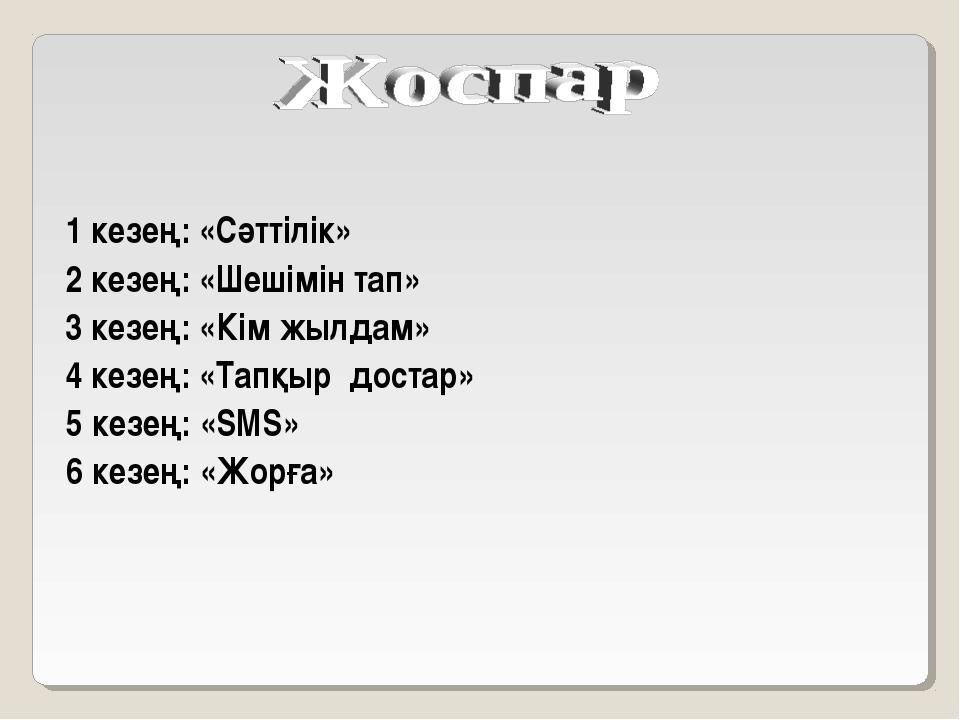 1 кезең: «Сәттілік» 2 кезең: «Шешімін тап» 3 кезең: «Кім жылдам» 4 кезең: «Та...