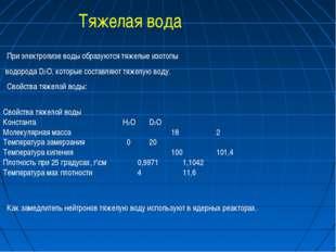 При электролизе воды образуются тяжелые изотопы водорода D2O, которые состав