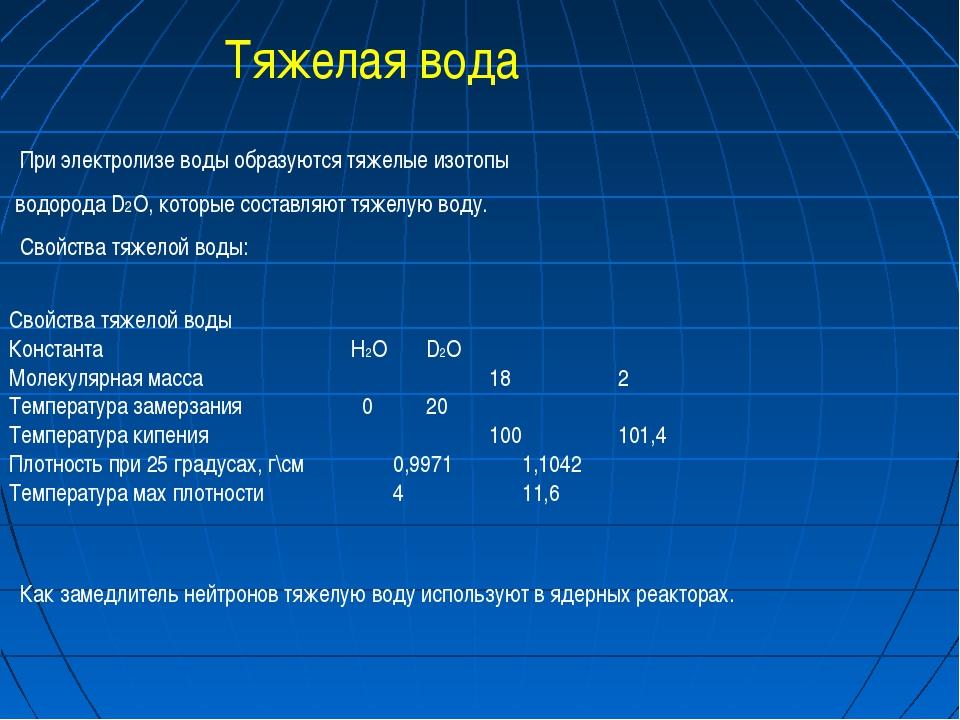 При электролизе воды образуются тяжелые изотопы водорода D2O, которые состав...