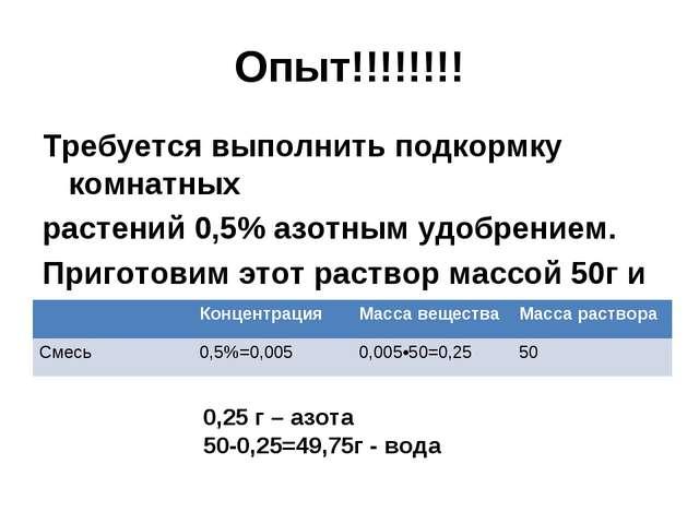 Опыт!!!!!!!! Требуется выполнить подкормку комнатных растений 0,5% азотным уд...