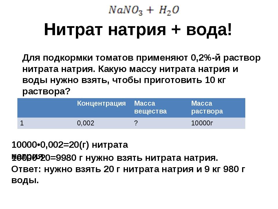 Нитрат натрия + вода! Для подкормки томатов применяют 0,2%-й раствор нитрата...