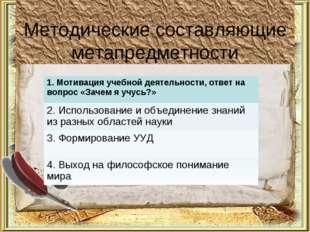 Методические составляющие метапредметности 1. Мотивация учебной деятельности