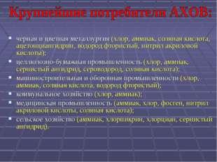 черная и цветная металлургия (хлор, аммиак, соляная кислота, ацетонциангидрин