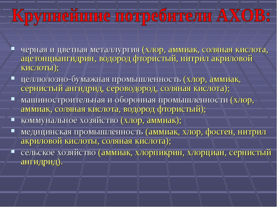 черная и цветная металлургия (хлор, аммиак, соляная кислота, ацетонциангидрин...