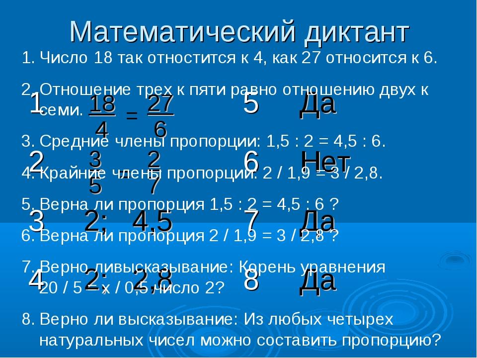 Математический диктант 27 6 18 4 = = 3 5 2 7 Число 18 так отностится к 4, как...