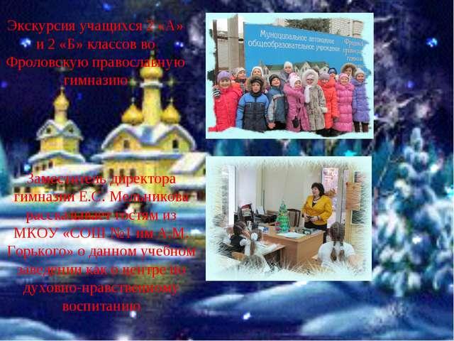 Заместитель директора гимназии Е.С. Мельникова рассказывает гостям из МКОУ «С...