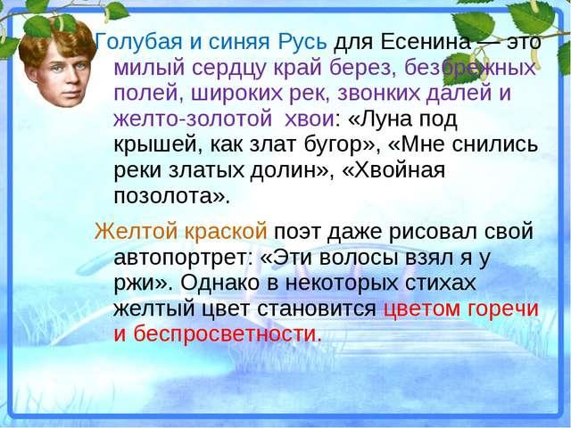 Голубая и синяя Русь для Есенина — это милый сердцу край берез, безбрежных по...