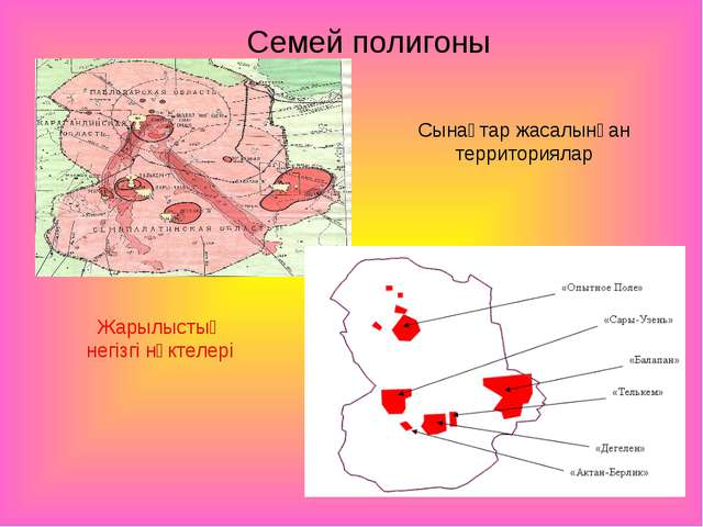 Сынақтар жасалынған территориялар Жарылыстың негізгі нүктелері Семей полигоны