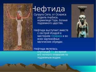 Нефтида Супруга Сета, от Осириса родила Анубиса, кормилица Гора, богиня подзе