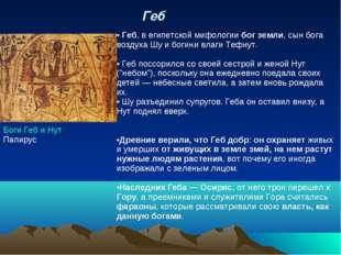 Геб  Боги Геб и Нут Папирус Геб, в егип