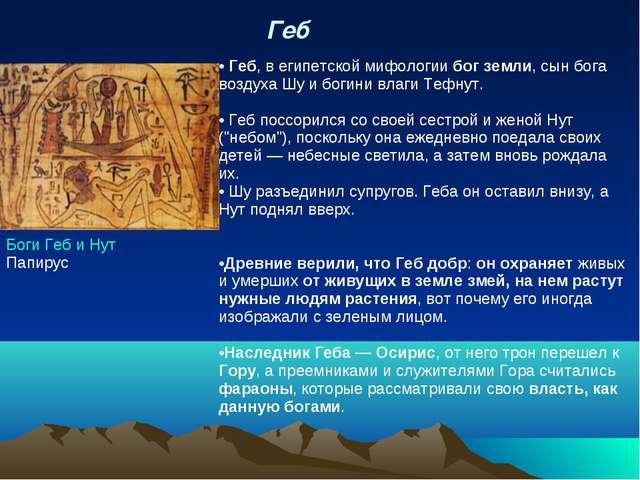 Геб  Боги Геб и Нут Папирус Геб, в егип...