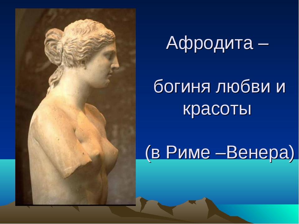 Афродита – богиня любви и красоты (в Риме –Венера)