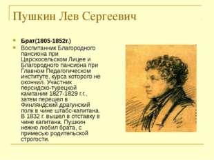 Пушкин Лев Сергеевич Брат(1805-1852г.) Воспитанник Благородного пансиона при
