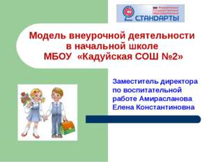 Модель внеурочной деятельности в начальной школе МБОУ «Кадуйская СОШ №2» Заме